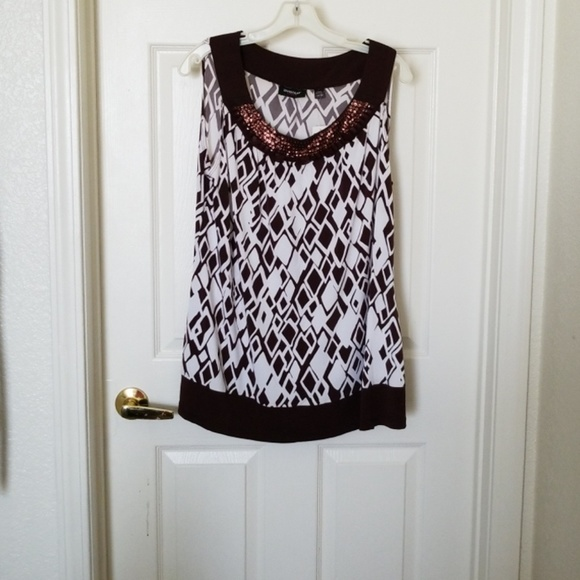 Avenue Tops - AVENUE NWT BROWN/WHITE SEQUIN & BEADED TOP